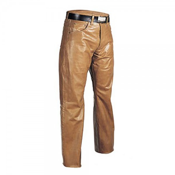 Classic Brown Jeans Style Leather Fashion Pant