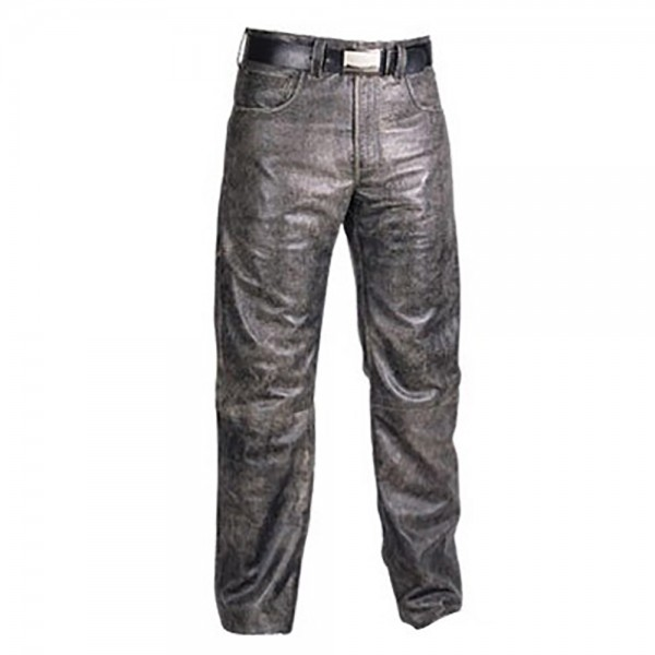 Classic Jeans Style Distressed Leather Fashion Pant