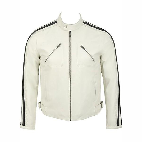 White Cow Plain Leather Fashion & Casual Jacket