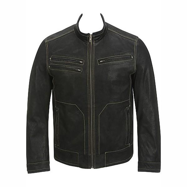 Contrast Semi Fashion Semi Motorbike Cruiser Leather Jacket