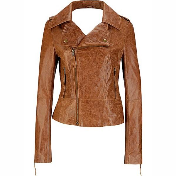 Ladies Glazed Distressed Leather Fashion & Casual Jacket