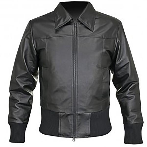 Skin Waist Length Leather & Rib Knit Leather Jacket