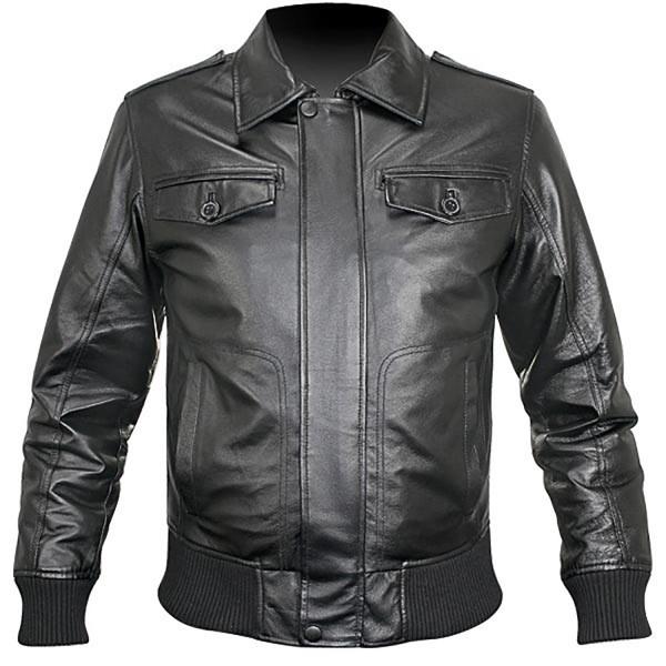 Skipper Waist Length Leather and Rib Knit Fashion Jacket