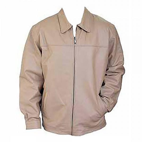 Beige: Cow Plain Leather Fashion Coat