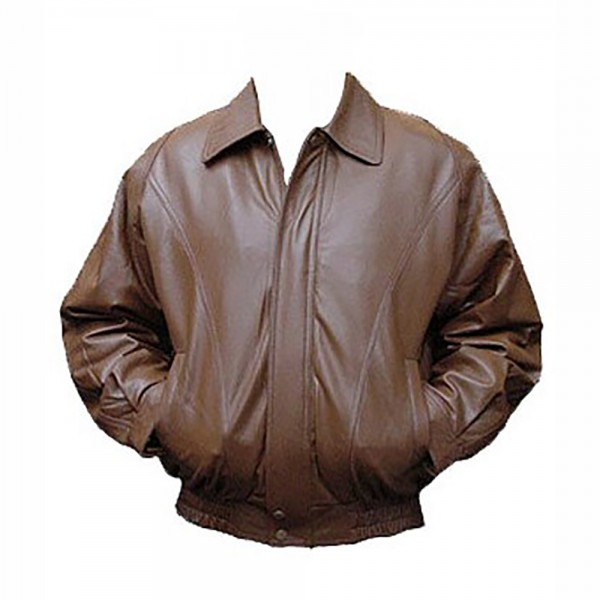 Brown Bomber: Cow Plain Leather Jacket