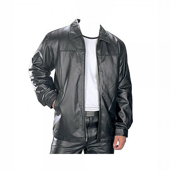 Natural: Black Cow Plain Leather Jacket
