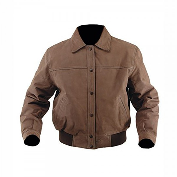Classic Style Nubuck Leather Bomber Jacket