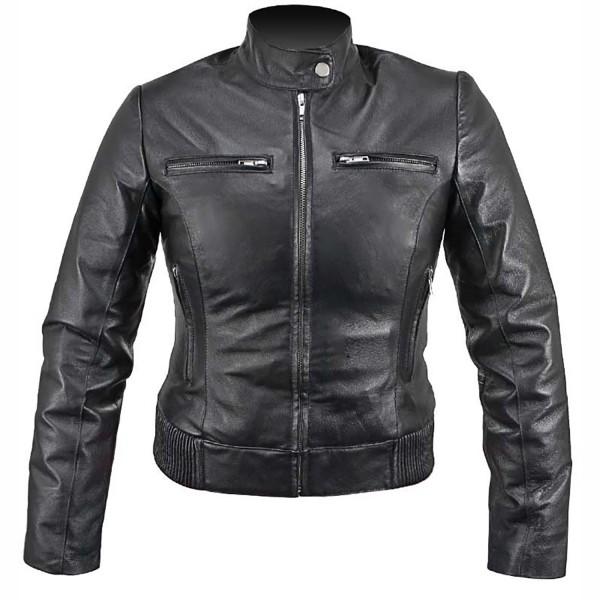 Beautiful: Collarless Ladies leather Jacket