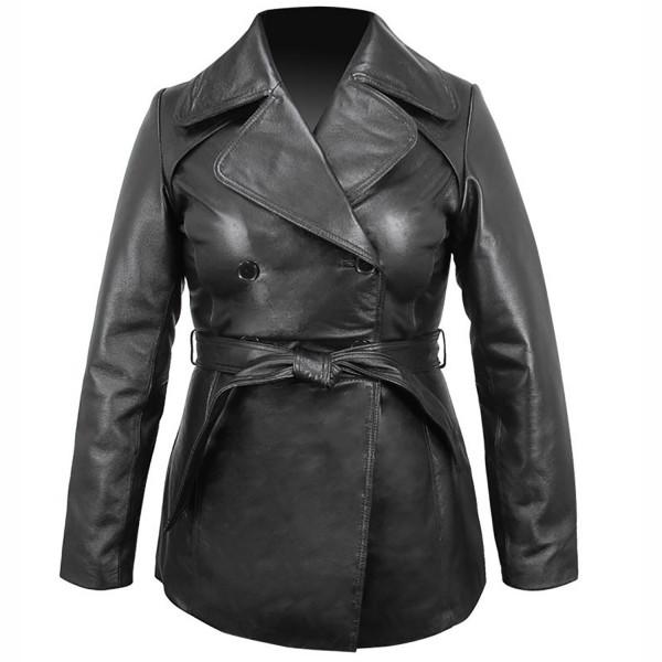 Classic: Ladies Black Leather Belted Pea coat