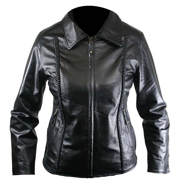 Kitty: Ladies Braided Leather Fashion Casual Jacket