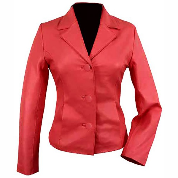 Lipstick Red Ladies leather Blazer Jacket