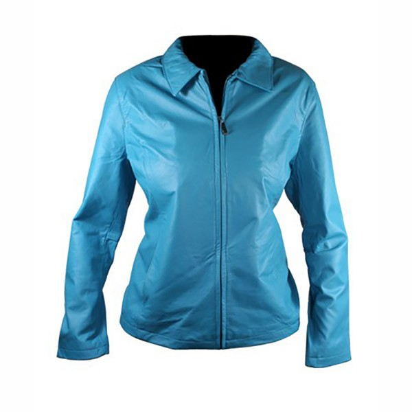 Ladies Turquoise Color Leather fashion & Casual Jacket