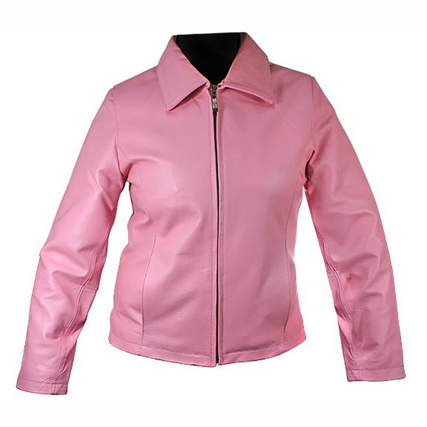 Pink Ladies Leather Fashion & Casual Jacket