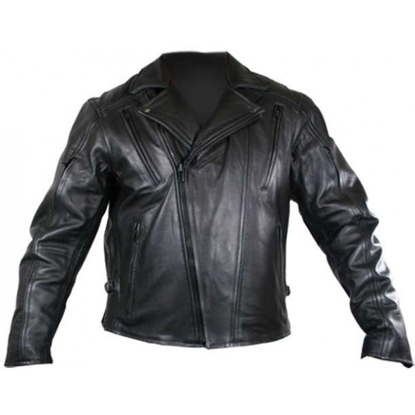 Zipper Side Motorcycle Cruiser Leather Jacket