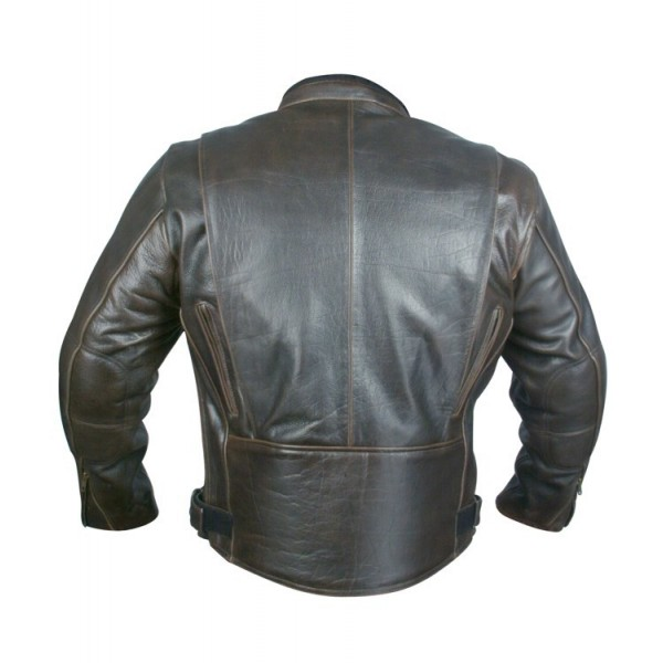 Retro Brown Motorbike Racing Cruiser Leather Jacket